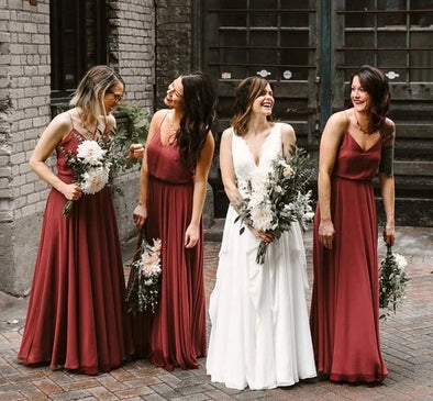 Brick Red Bridesmaid Dresses A Line Long Chiffon Wedding Guest Party Dress