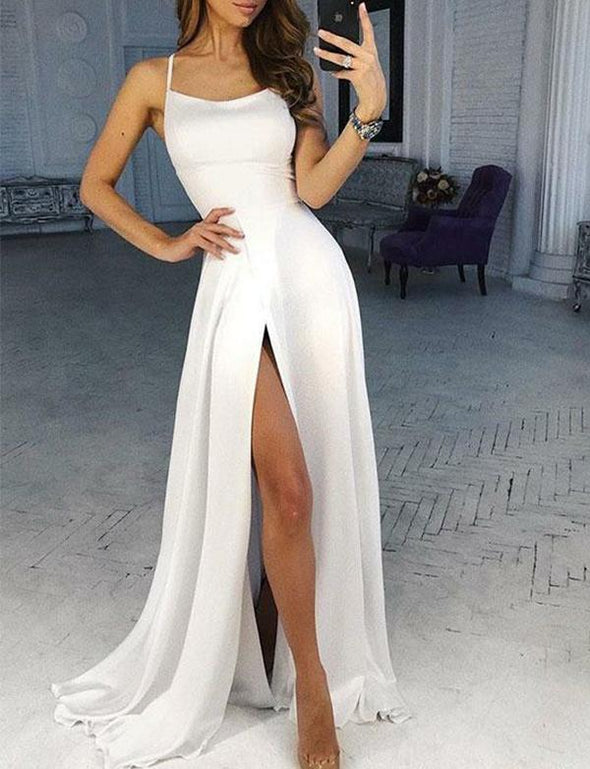 Prom Gown High Slit Spaghetti Straps Cross Back Evening Dress