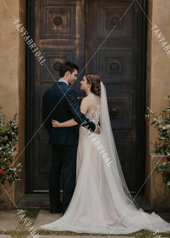 V-Neck Tulle Wedding Dresses Beads Lace A Line Bridal Gowns Boho Noivas DW433