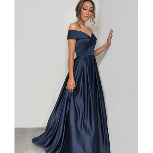 Off Shoulder A Line Prom Dresses Satin Evening Pageant Gowns