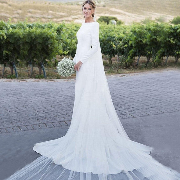 Sheath Wedding Dress Long Sleeve Boat Neckline Backless Buttons Beach Country Wedding Gowns