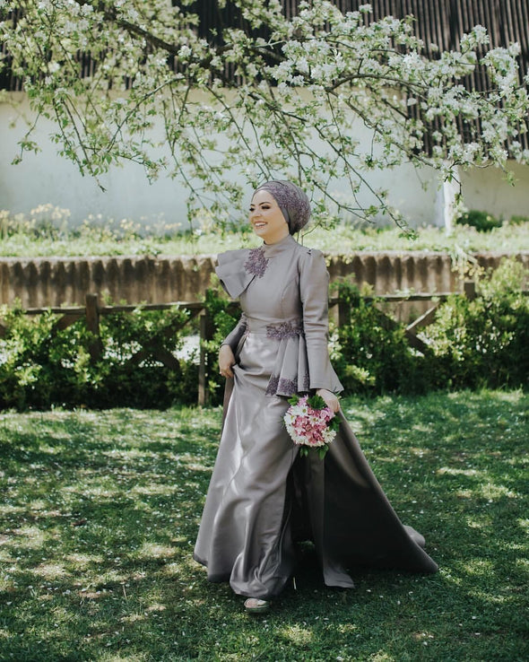 Gray Satin Long Sleeves A Line Muslim Wedding Dresses Long Sleeves  DQG1104
