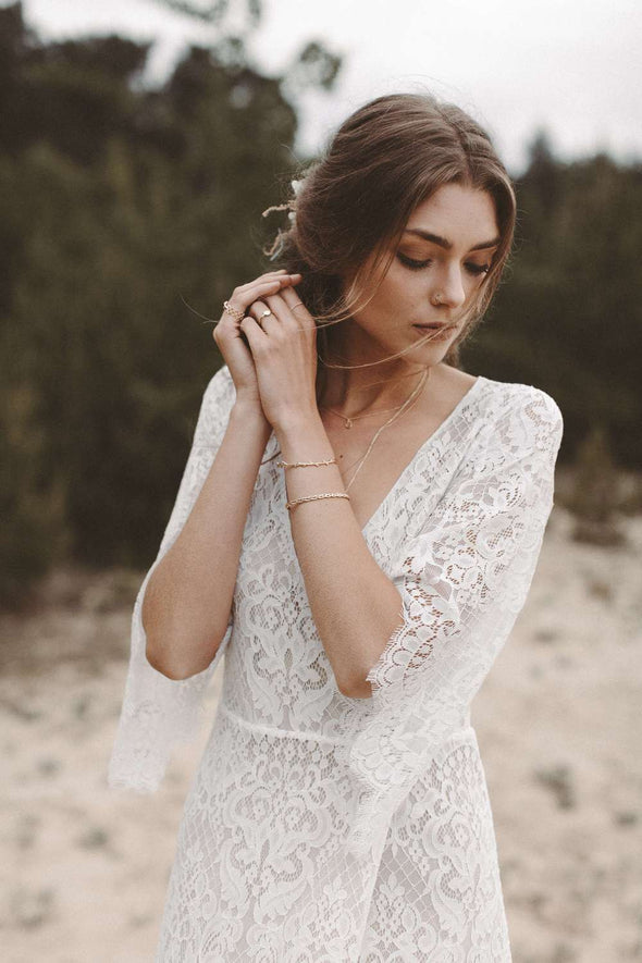 Lace Wedding Dress Boho Dreamy V Neck A Line Bridal Dress DW374