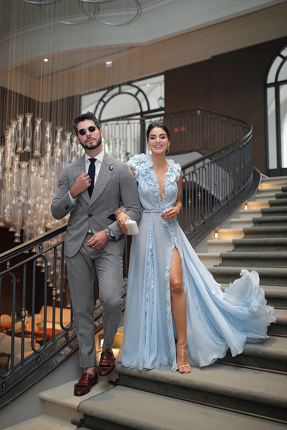 Sky Blue Evening Dresses Long 2020 Formal Party Gowns
