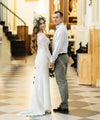 Lace Long Sleeve Wedding Dresses O-Neck Bohemian Beach Bridal Gowns Chic noivas ZW296