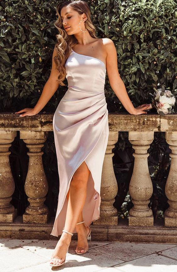 One Shoulder Modest Satin Bridesmaid Dresses