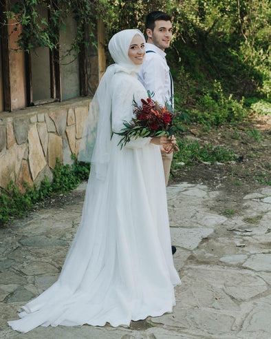 White Simple Lace Tulle Muslim Wedding Dresses A Line Arabic Bride Gown DQG1105