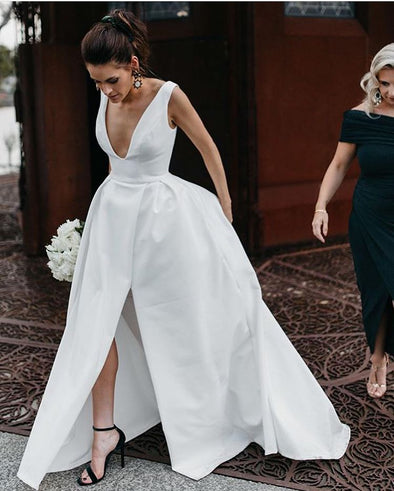 A Line V Neck Satin Wedding Dresses TB1416
