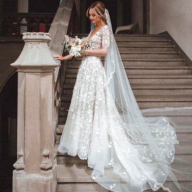 A Line V Neck Half Sleeves Lace Wedding Dresses TB1418