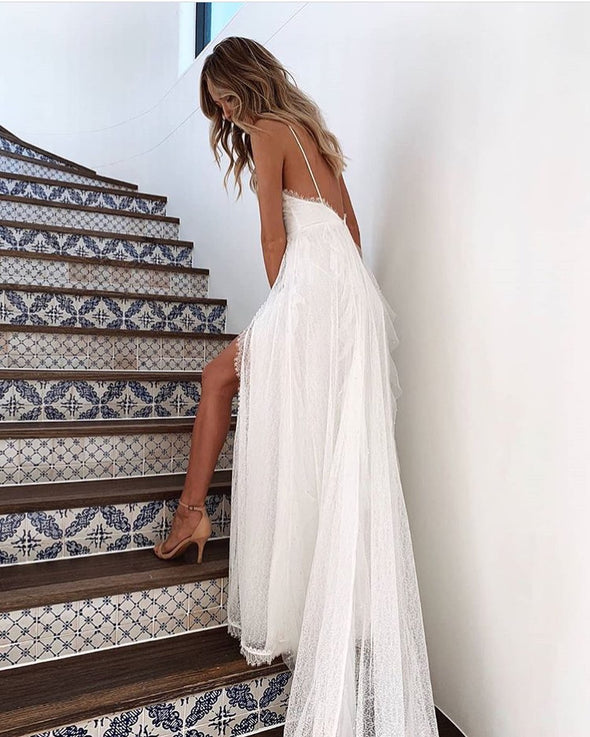 V Neck Summer Bohemian Lace Engagement Wedding Dress TB1394