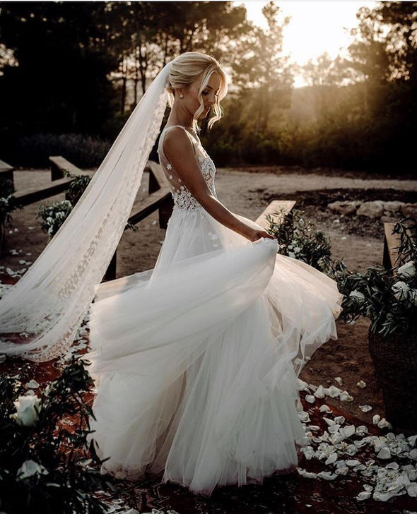 A Line V Neck Illusion Strap Long Wedding Dresses TB1401