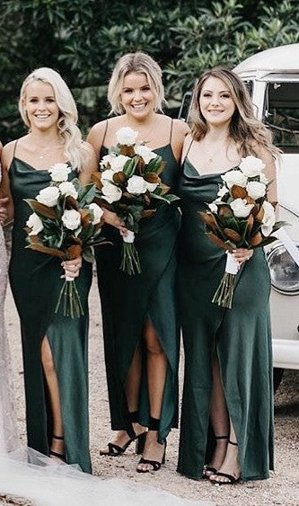 Gark Green Long Simple Bridesmaid Dresses TB1393