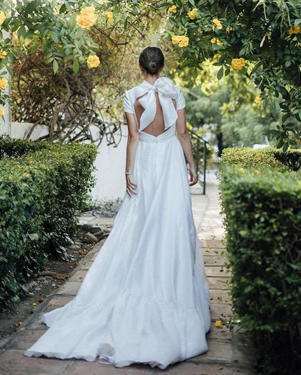 Short Sleeves A Line Soft Satin Open Back Wedding Dresses TB1396