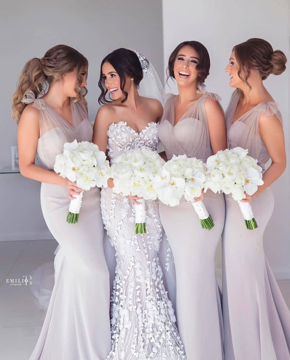 Silvery Long Mermaid Bridesmaid Dresses V Neck Illusion Tulle Strap