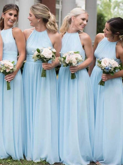 Sky Blue A line Chiffon Halter Bridesmaid Dresses Long