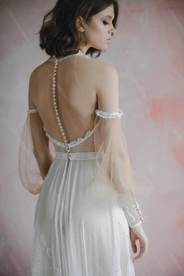 Emboridery Wedding Bridal Gowns detachable lantern Sleeve Engement Noivas DW487