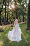 A Line Tulle Wedding Dresses Lace Beads Fairy bohemian Bridal Gowns Sweep Train Vestido de noivas ZW306