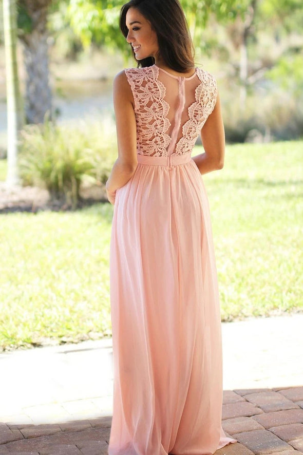 Peach Pink Long Chiffon Lace Wedding Party Dress Bridesmaids Gown