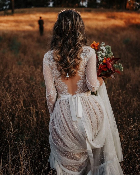 Long Sleeves V Back Points Lovely Champagne Lining Wedding Dresses