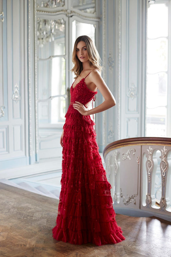 Red Evening Prom Dresses Tiered Formal Dress