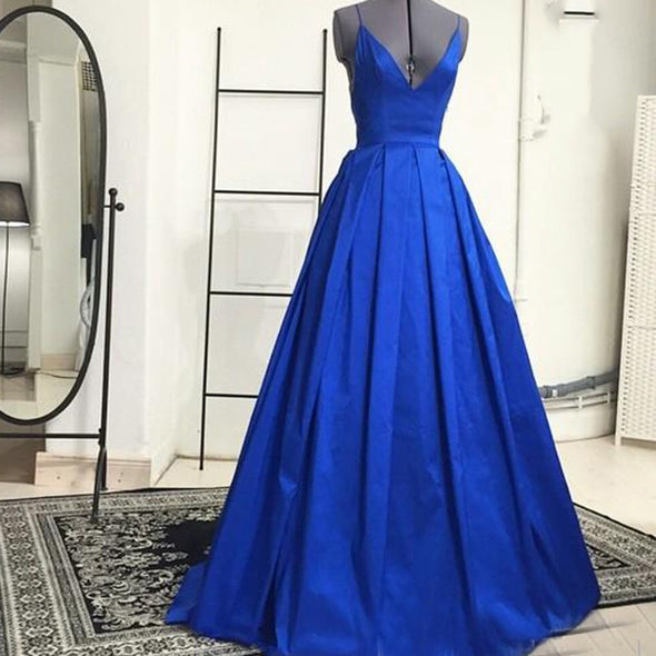 Backless Royal Blue Long Prom Dresses 2020