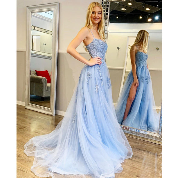 Sky Blue Prom Dresses Tulle A-line backless Formal Wear