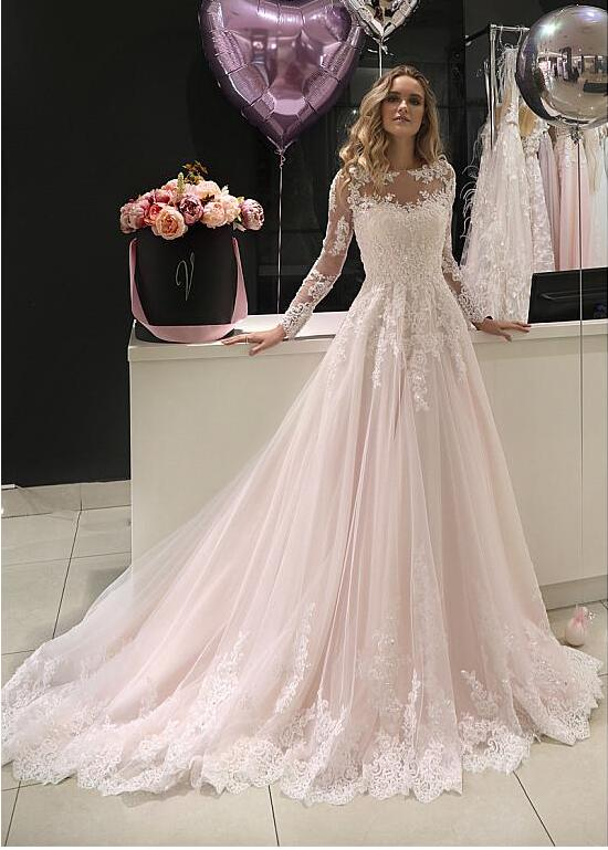 Beaded Lace Tulle Jewel A-line Wedding Dresses Long Sleeves Buttons Back Sheer Illusion Neckline