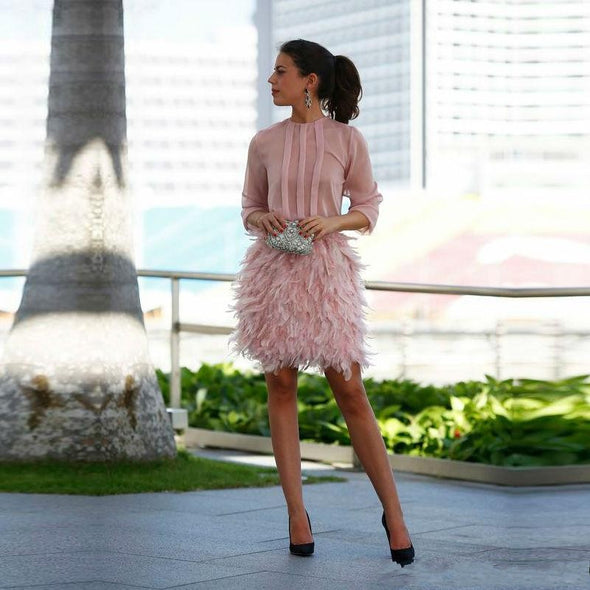 Blush Pink Dress Cocktail Feathers vestidos de coctel Knee Length