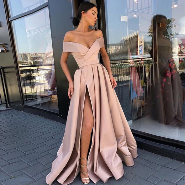 Blush Pink Off Shoulder Prom Dresses Boat Neck Front Split