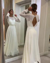 Bohemian Simple Long Sleeves Wedding Dress A Line Open Back Modest