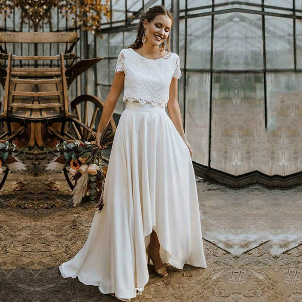 Bohemian Two Pieces Wedding Dresses 2020 Lace Top Short Sleeve Jewel Neck Holiday Country Beach Bride Gown Vestidos De Novia
