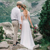 Bohemian Wedding Dresses Lace Cape Sleeve Chiffon Bridal Gowns Vestido De Noivas DW224