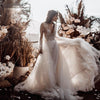 Boho Dreamy A Line Wedding Dresses Full sleeve