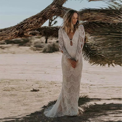 Boho Mermaid Wedding Dress for Bride 2020 Long Sleeve Lace Beach Bridal Gowns