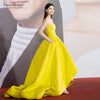 right Yellow Evening Dresses High Long Simple Satin Women Prom Gowns DE032