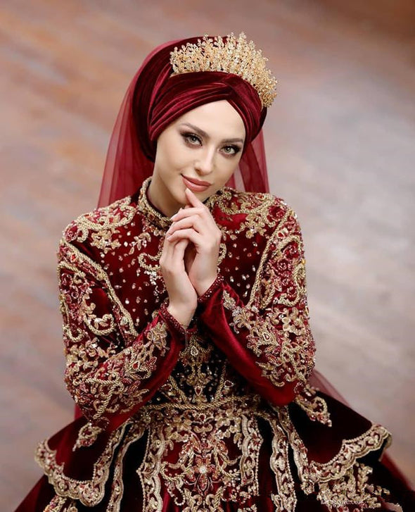 Muslim Burgundy Wedding Dress Long Sleeve Ball Gown TBW05