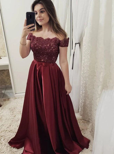 Burgundy Long Prom Dresses Off The Shoulder Appliques Party Dresses TB1356