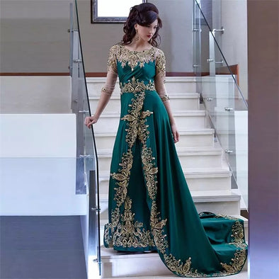 Hunter Green Moroccan Kaftan Dubai Evening Dresses TBE08