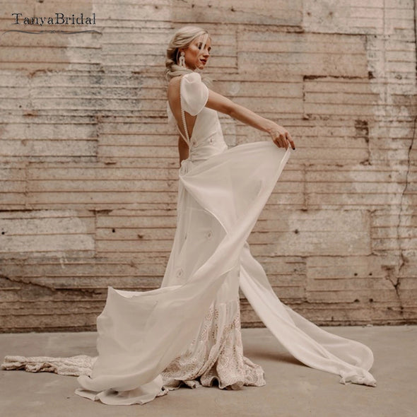 Bohemian Backless Wedding Dresses Lace Emboridery Noivas DW483