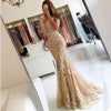 Champagne Prom Dresses Mermaid Tulle Appliques Lace Backless Party Maxys Long Prom Gown Evening Dresses Robe De Soiree