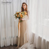 Champagne Tulle Wedding Dresses Full Sleeve Lace Bridal Gowns
