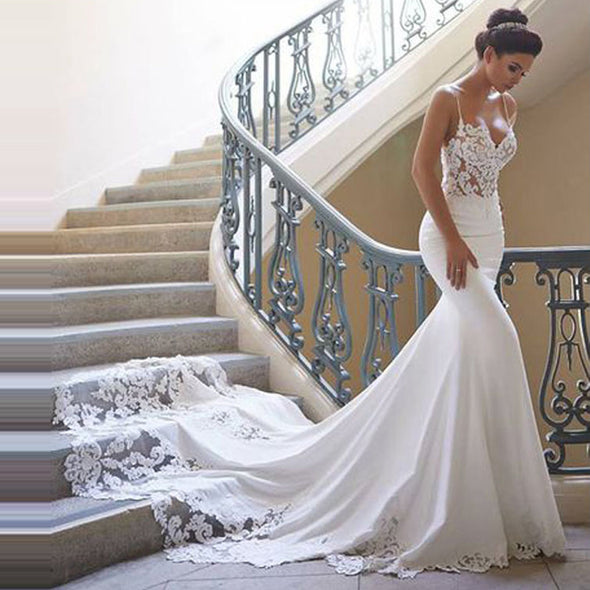 Charming Long Mermaid Wedding Dresses