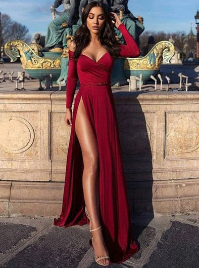Charming Burgundy Off the Shoulder Long Sleeves Prom Dress With Slit TB1364