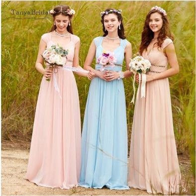 Chiffon Long Bridesmaid Dresses V-Neck Elegant Wedding Guest Dresses