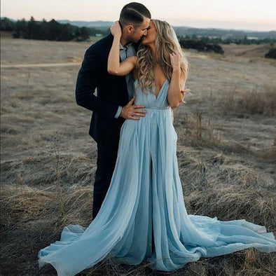 Chiffon Maxi Summer Split Prom Dresses 2020 Women Formal Gown