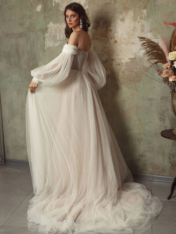 Off The Shoulder Tulle Wedding Dress Long Sleeve A Line Wedding Dress TBW68