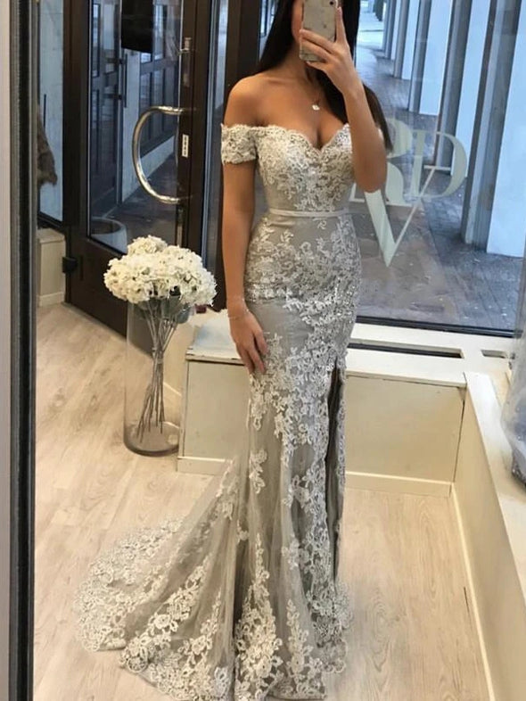Mermaid Lace Prom Dress Off The Shoulder Sexy Evening Dress With Sleeve