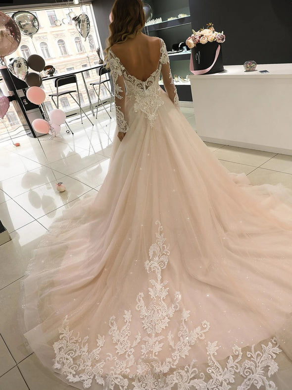A Line Long Sleeve Wedding Dresses Lace Backless Wedding Dresses