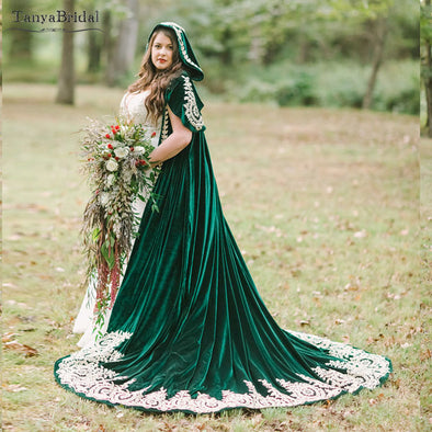 Green Velvet Wedding Cloak With Hood
