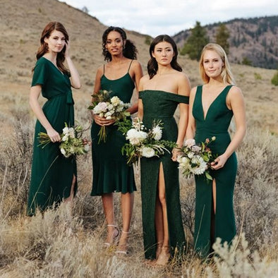 Dark green lace off shoulder bridesmaid dress many styles